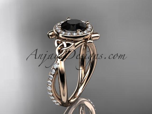 14kt rose gold celtic trinity knot engagement ring, wedding ring with a Black Diamond center stone CT789 - AnjaysDesigns