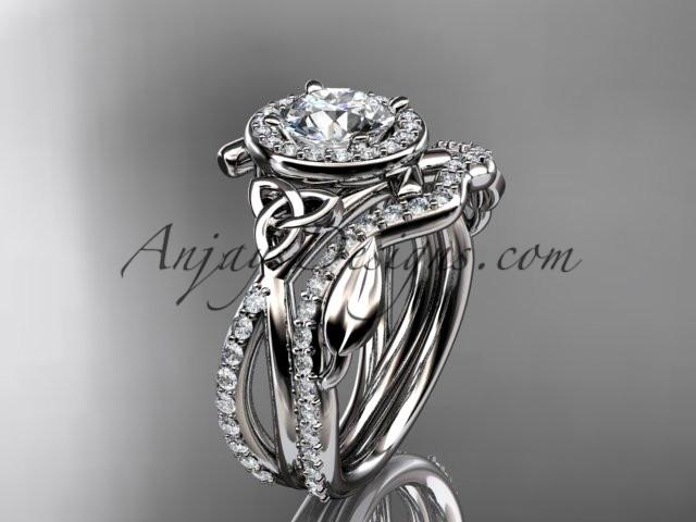 "platinum celtic trinity knot engagement set, wedding ring with a ""Forever One"" Moissanite center stone CT789S - AnjaysDesigns"