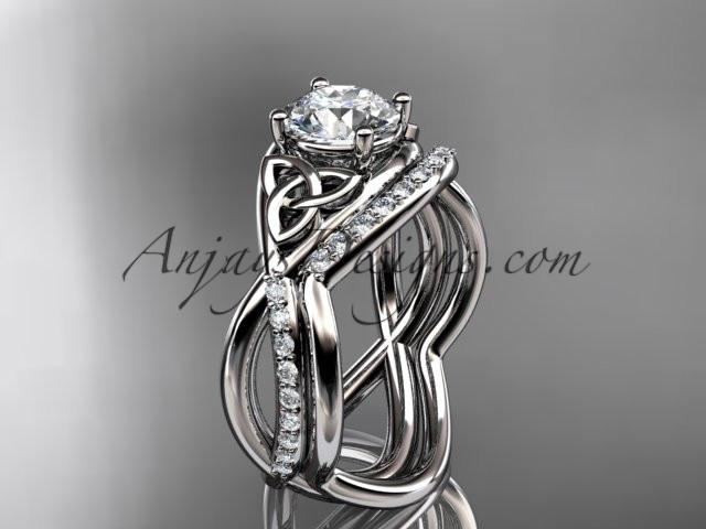 "platinum celtic trinity knot engagement set, wedding ring with a ""Forever One"" Moissanite center stone CT790S - AnjaysDesigns"