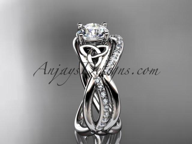 14kt white gold celtic trinity knot engagement set, wedding ring CT790S - AnjaysDesigns