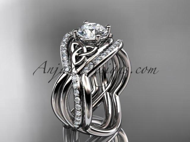 "platinum celtic trinity knot engagement ring, wedding ring with a ""Forever One"" Moissanite center stone and double matching band CT790S - AnjaysDesigns"