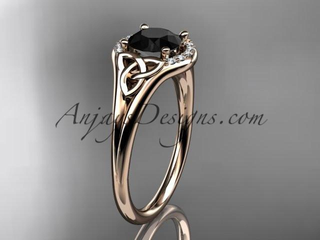 14kt rose gold celtic trinity knot engagement ring, wedding ring with a Black Diamond center stone CT791 - AnjaysDesigns