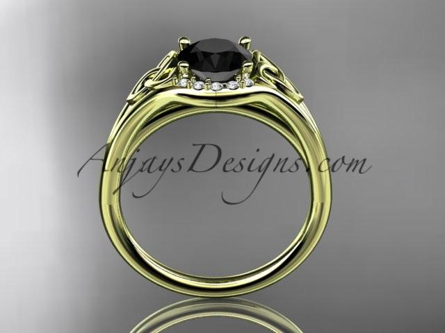 14kt yellow gold celtic trinity knot engagement ring, wedding ring with a Black Diamond center stone CT791 - AnjaysDesigns