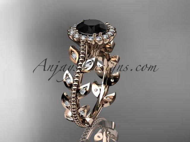 14k rose gold diamond leaf and vine wedding ring, engagement ring with a Black Diamond center stone ADLR118 - AnjaysDesigns, Black Diamond Engagement Rings - Jewelry, Anjays Designs - AnjaysDesigns, AnjaysDesigns - AnjaysDesigns.co,