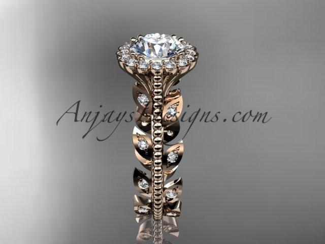 "14k rose gold diamond leaf and vine wedding ring, engagement ring with a ""Forever One"" Moissanite center stone ADLR118 - AnjaysDesigns, Moissanite Engagement Rings - Jewelry, Anjays Designs - AnjaysDesigns, AnjaysDesigns - AnjaysDesigns.co,"