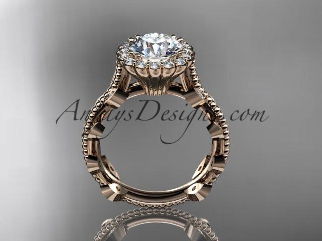 14k rose gold diamond leaf and vine wedding ring, engagement ring ADLR118 - AnjaysDesigns, Spring Collection - Jewelry, Anjays Designs - AnjaysDesigns, AnjaysDesigns - AnjaysDesigns.co,