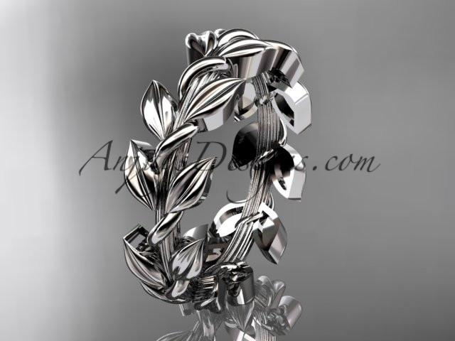 platinum leaf wedding ring, wedding band ADLR120G - AnjaysDesigns