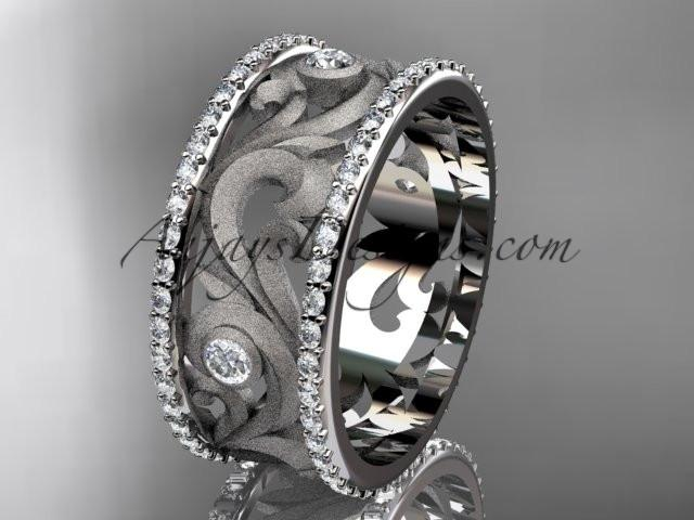 14kt white gold diamond engagement ring, wedding band ADLR121BA - AnjaysDesigns