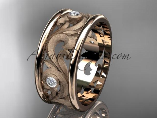 14kt rose gold diamond engagement ring, wedding band ADLR121BB - AnjaysDesigns