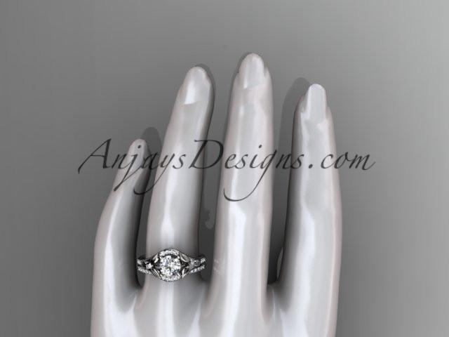 14kt white gold diamond floral wedding ring, engagement set ADLR126S - AnjaysDesigns
