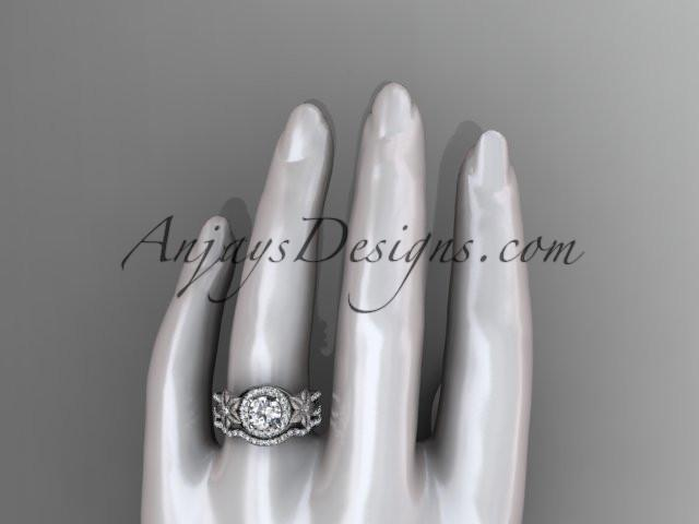 14kt white gold diamond floral wedding ring, engagement set ADLR127S - AnjaysDesigns