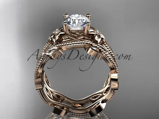 "14k rose gold diamond leaf and vine wedding ring, engagement ring, engagement set with a ""Forever One"" Moissanite center stone ADLR151S - AnjaysDesigns, Moissanite Engagement Sets - Jewelry, Anjays Designs - AnjaysDesigns, AnjaysDesigns - AnjaysDesigns.co,"