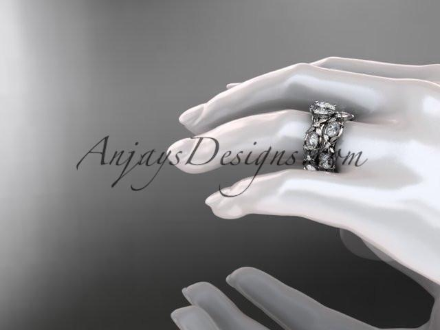 "platinum diamond leaf and vine wedding ring, engagement set with a ""Forever One"" Moissanite center stone ADLR152S - AnjaysDesigns"