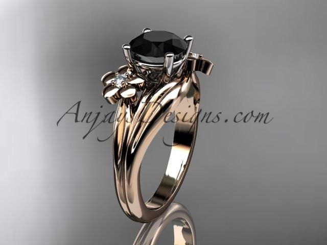 14k rose gold diamond leaf and vine wedding ring, engagement ring with a Black Diamond center stone ADLR159 - AnjaysDesigns, Black Diamond Engagement Rings - Jewelry, Anjays Designs - AnjaysDesigns, AnjaysDesigns - AnjaysDesigns.co,