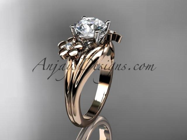 "14k rose gold diamond leaf and vine wedding ring, engagement ring with a ""Forever One"" Moissanite center stone ADLR159 - AnjaysDesigns, Moissanite Engagement Rings - Jewelry, Anjays Designs - AnjaysDesigns, AnjaysDesigns - AnjaysDesigns.co,"