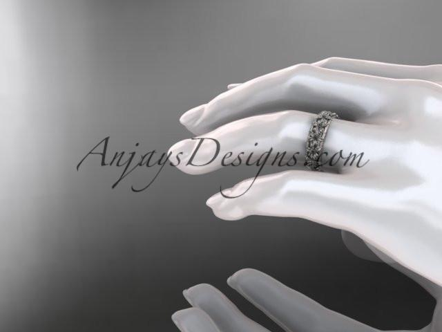 14kt white gold flower wedding ring, engagement ring, wedding band ADLR163G - AnjaysDesigns
