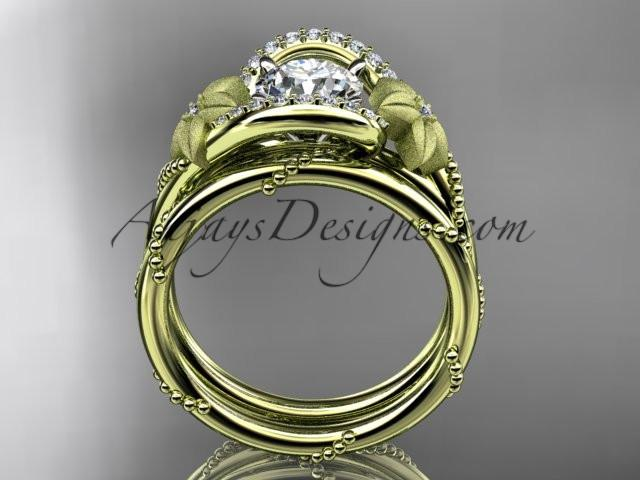 14kt yellow gold diamond unique engagement set ADLR166S - AnjaysDesigns