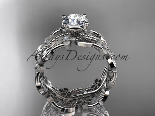 platinum diamond leaf and vine wedding ring, engagement ring ADLR188 - AnjaysDesigns