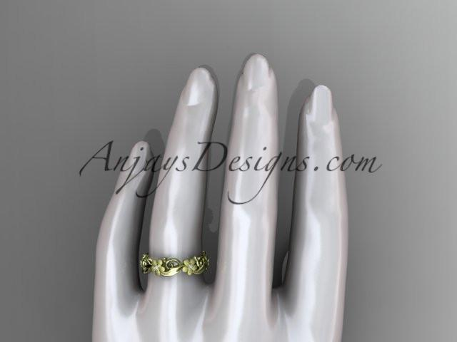 14kt yellow gold diamond flower wedding ring, engagement ring, wedding band. ADLR191 - AnjaysDesigns