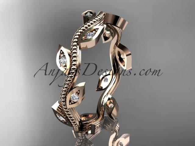 14k rose gold diamond leaf and vine wedding ring, engagement ring, wedding band ADLR1B - AnjaysDesigns, Diamond Wedding Bands - Jewelry, Anjays Designs - AnjaysDesigns, AnjaysDesigns - AnjaysDesigns.co,