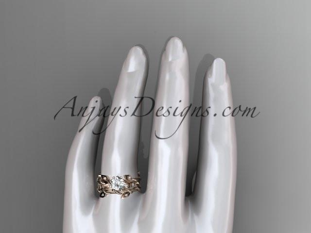 14k rose gold diamond leaf and vine engagement ring, engagement set ADLR20S - AnjaysDesigns, Engagement Sets - Jewelry, Anjays Designs - AnjaysDesigns, AnjaysDesigns - AnjaysDesigns.co,