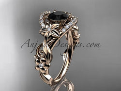 14k rose gold flower diamond unique engagement ring with a Black Diamond center stone ADLR211 - AnjaysDesigns