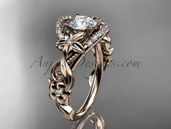 14k rose gold flower diamond unique engagement ring ADLR211 - AnjaysDesigns