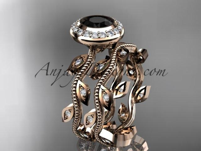 14k rose gold diamond leaf and vine wedding ring, engagement ring, engagement set with a Black Diamond center stone ADLR212S - AnjaysDesigns, Black Diamond Engagement Sets - Jewelry, Anjays Designs - AnjaysDesigns, AnjaysDesigns - AnjaysDesigns.co,