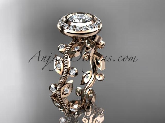 14k rose gold diamond leaf and vine wedding ring, engagement ring ADLR212 - AnjaysDesigns, Spring Collection - Jewelry, Anjays Designs - AnjaysDesigns, AnjaysDesigns - AnjaysDesigns.co,