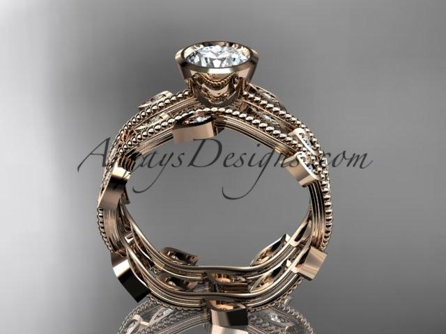 "14k rose gold diamond leaf and vine wedding ring, engagement ring, engagement set with a ""Forever One"" Moissanite center stone ADLR213S - AnjaysDesigns, Moissanite Engagement Sets - Jewelry, Anjays Designs - AnjaysDesigns, AnjaysDesigns - AnjaysDesigns.co,"