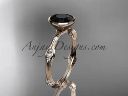 14k rose gold diamond vine wedding ring, engagement ring with Black Diamond center stone ADLR21A - AnjaysDesigns