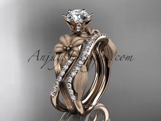 Unique 14kt rose gold diamond flower, leaf and vine wedding ring, engagement set ADLR221S - AnjaysDesigns
