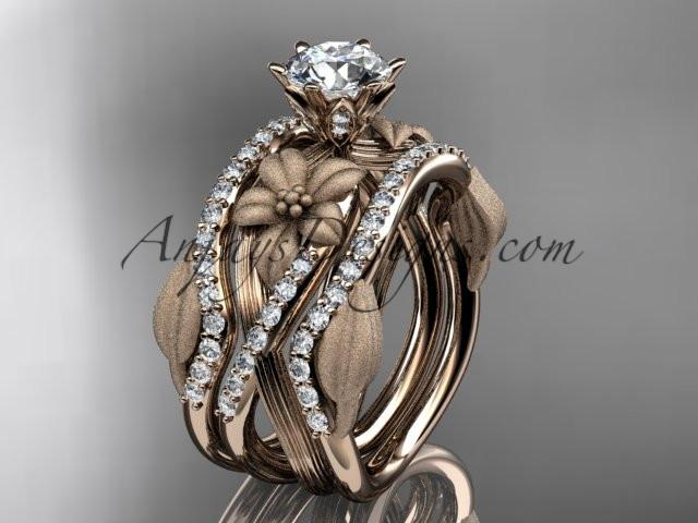 Unique 14kt rose gold diamond flower, leaf and vine wedding ring, engagement ring and double matching band ADLR221S - AnjaysDesigns