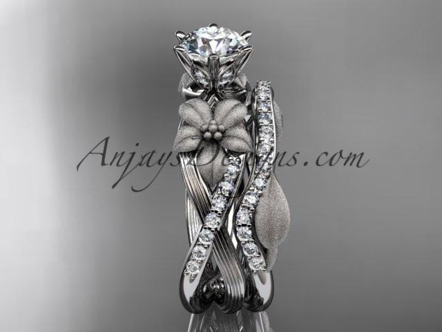 Unique platinum diamond flower, leaf and vine wedding ring, engagement set ADLR221S - AnjaysDesigns