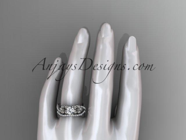 Unique 14kt white gold diamond flower, leaf and vine wedding ring, engagement set ADLR221S - AnjaysDesigns
