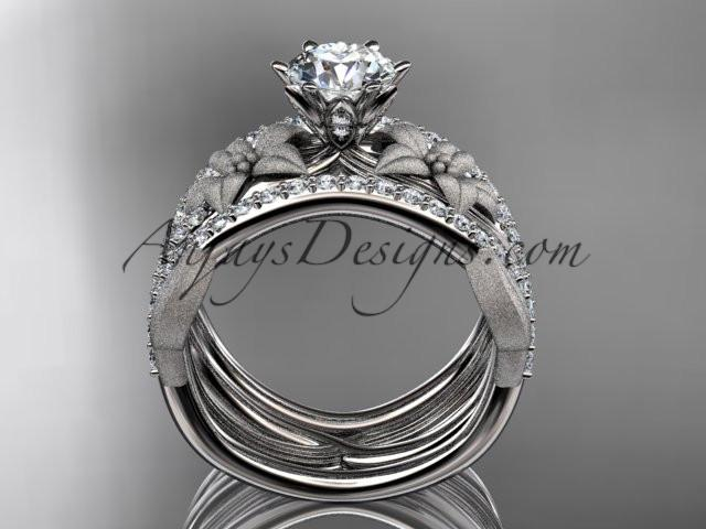 Unique platinum diamond flower, leaf and vine wedding ring, engagement ring and double matching band ADLR221S - AnjaysDesigns