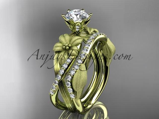 Unique 14kt yellow gold diamond flower, leaf and vine wedding ring, engagement set ADLR221S - AnjaysDesigns