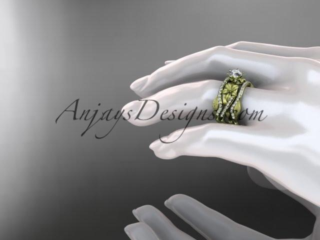 Unique 14kt yellow gold diamond flower, leaf and vine wedding ring, engagement ring and double matching band ADLR221S - AnjaysDesigns