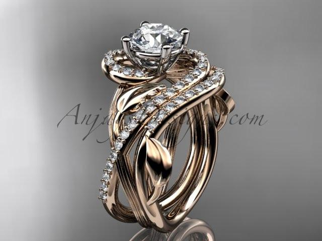 Unique 14kt rose gold diamond leaf and vine wedding set, engagement set ADLR222S - AnjaysDesigns