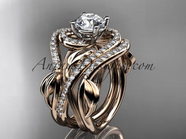 Unique 14kt rose gold diamond leaf and vine wedding ring, engagement ring with a double matching band ADLR222S - AnjaysDesigns