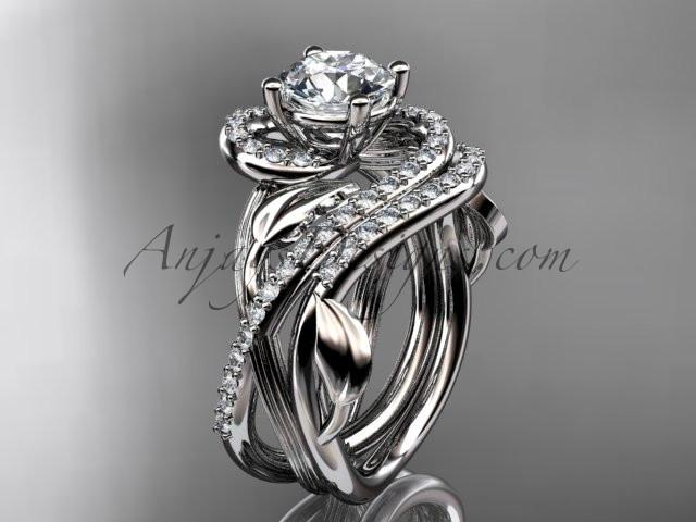 Unique 14kt white gold diamond leaf and vine wedding set, engagement set ADLR222 - AnjaysDesigns