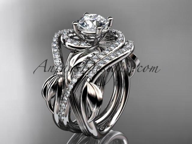 Unique 14kt white gold diamond leaf and vine wedding ring, engagement ring with a double matching band ADLR222S - AnjaysDesigns