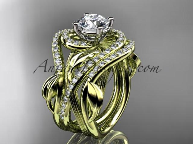 Unique 14kt yellow gold diamond leaf and vine wedding ring, engagement ring with a double matching band ADLR222S - AnjaysDesigns