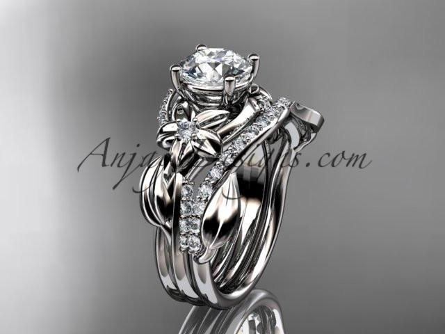 Unique platinum diamond flower, leaf and vine wedding ring, engagement set ADLR224S - AnjaysDesigns