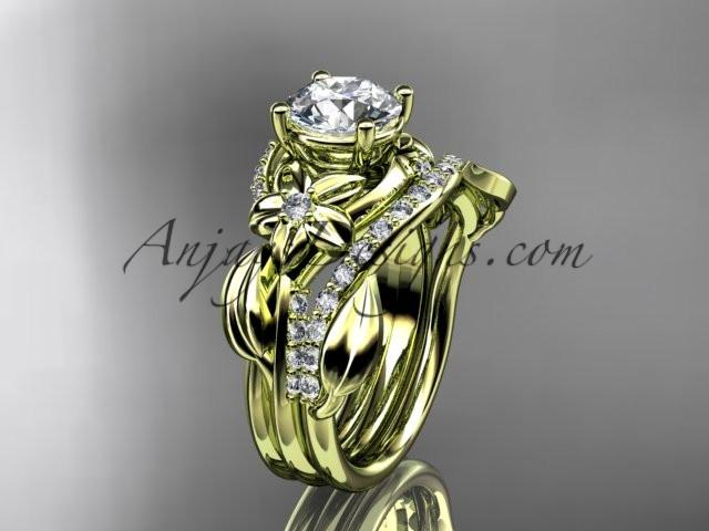 Unique 14k yellow gold diamond flower, leaf and vine wedding ring, engagement set ADLR224S - AnjaysDesigns