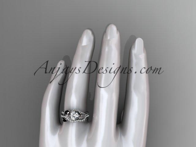 Unique platinum diamond leaf wedding ring, engagement set ADLR225S - AnjaysDesigns
