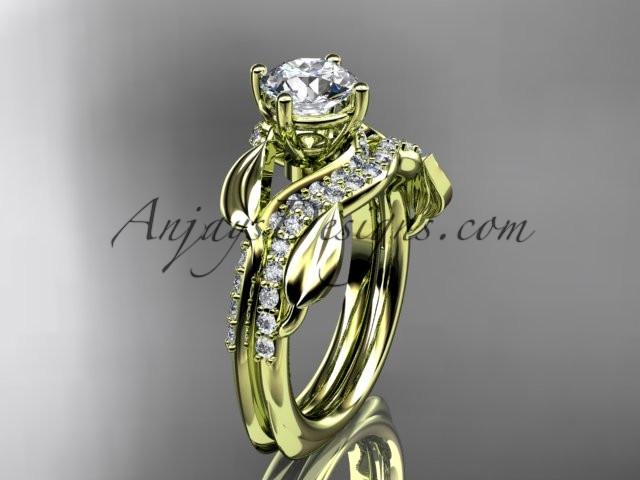 Unique 14k yellow gold diamond leaf wedding ring, engagement set ADLR225S - AnjaysDesigns