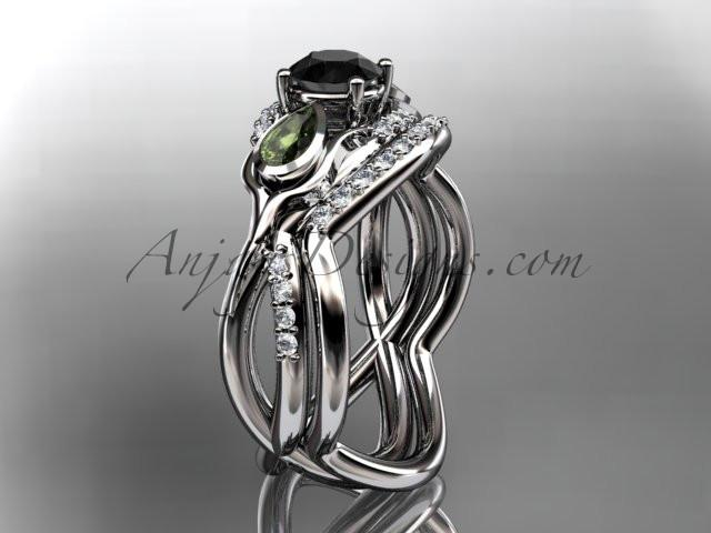 Unique Platinum diamond tulip flower, wedding set, leaf and vine engagement set with a Black Diamond center stone ADLR226S - AnjaysDesigns