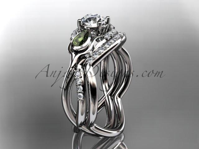 Unique 14kt white gold diamond tulip flower, wedding set, leaf and vine engagement set ADLR226S - AnjaysDesigns