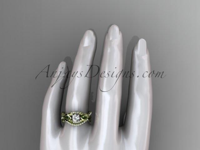 Unique 14kt yellow gold diamond tulip flower, wedding set, leaf and vine engagement set ADLR226S - AnjaysDesigns